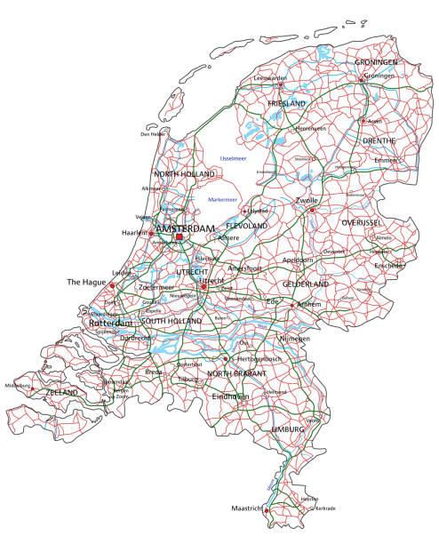 stockillustraties, clipart, cartoons en iconen met nederlandse weg-en snelweg kaart. vector illustratie. - eindhoven