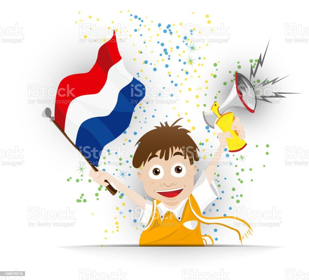 Niederlandische Fussballfan Flag Comic Stock Vektor Art Und