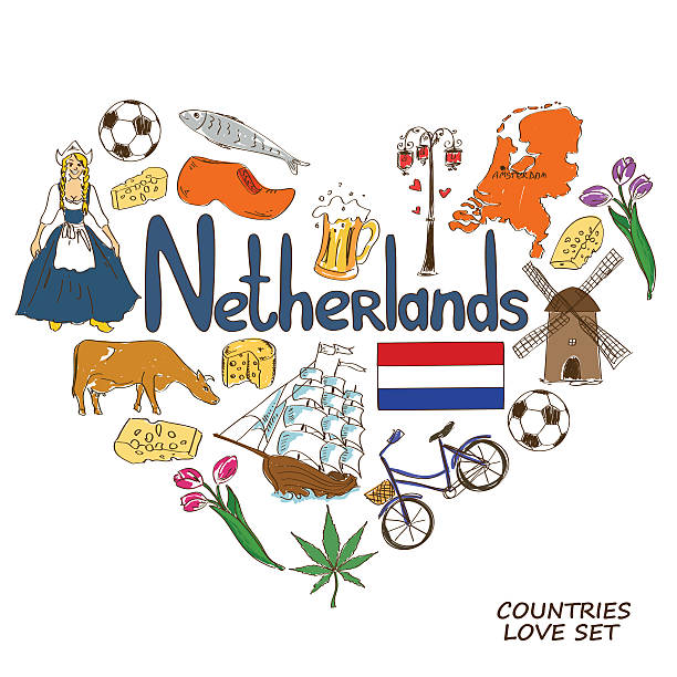netherlands symbols in heart shape concept - dutch traditional clothing stock illustrations, clip art, cartoons, & icons