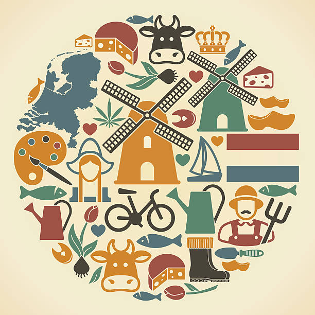 netherlands symbols - dutch traditional clothing stock illustrations, clip art, cartoons, & icons
