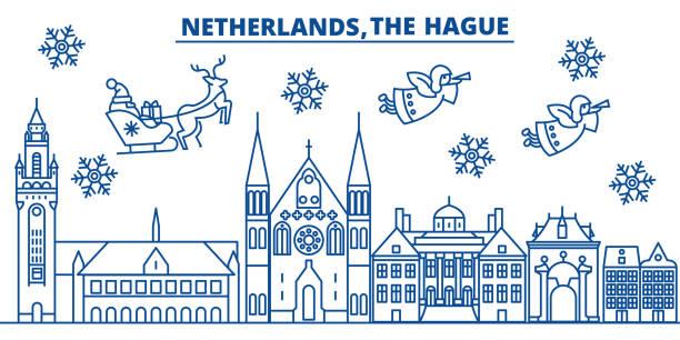 stockillustraties, clipart, cartoons en iconen met nederland, skyline van de stad van de winter van den haag. vrolijk kerstfeest, gelukkig nieuwjaar versierd banner met santa claus.winter lijn wenskaart. vlakke, overzicht vector. lineaire kerst sneeuw illustratie - den haag