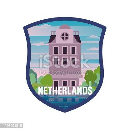 Tourism, Famous Place, Netherlands, Graphic Label