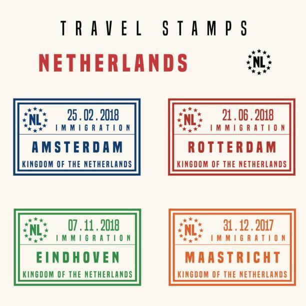 stockillustraties, clipart, cartoons en iconen met nederland reizen stempels - eindhoven