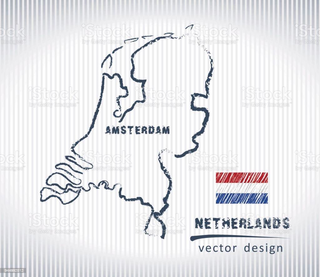 Nederland vector krijt tekening kaart geïsoleerd op een witte achtergrond - Royalty-free Abstract vectorkunst