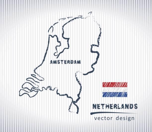 stockillustraties, clipart, cartoons en iconen met nederland vector krijt tekening kaart geïsoleerd op een witte achtergrond - netherlands map