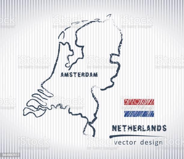 Nederland Vector Krijt Tekening Kaart Geïsoleerd Op Een Witte Achtergrond Stockvectorkunst en meer beelden van Abstract