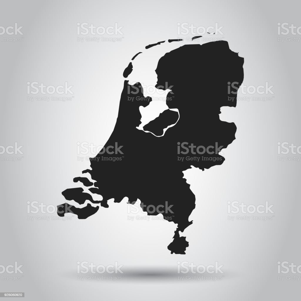 Netherlands Vector Map Black Icon On White Background Stock Vector ...