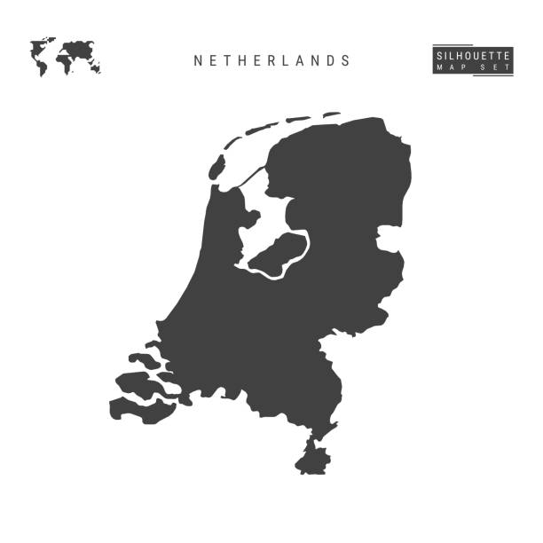netherlands vector map isolated on white background. high-detailed black silhouette map of holland - holandia stock illustrations