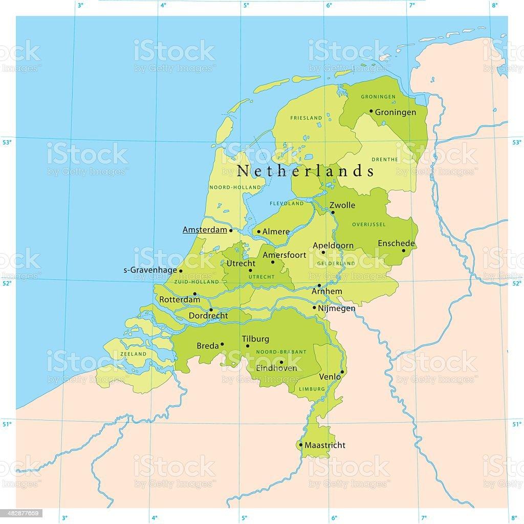 Netherlands Vector Map vector art illustration