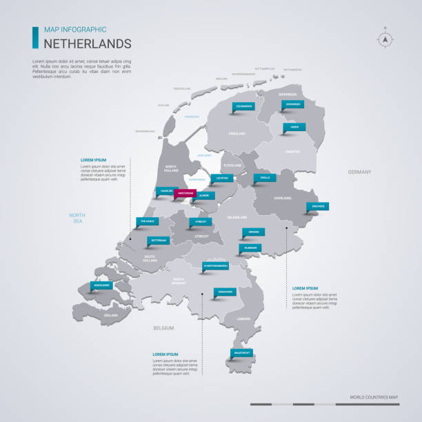 netherlands vector map with infographic elements, pointer marks. - holandia stock illustrations
