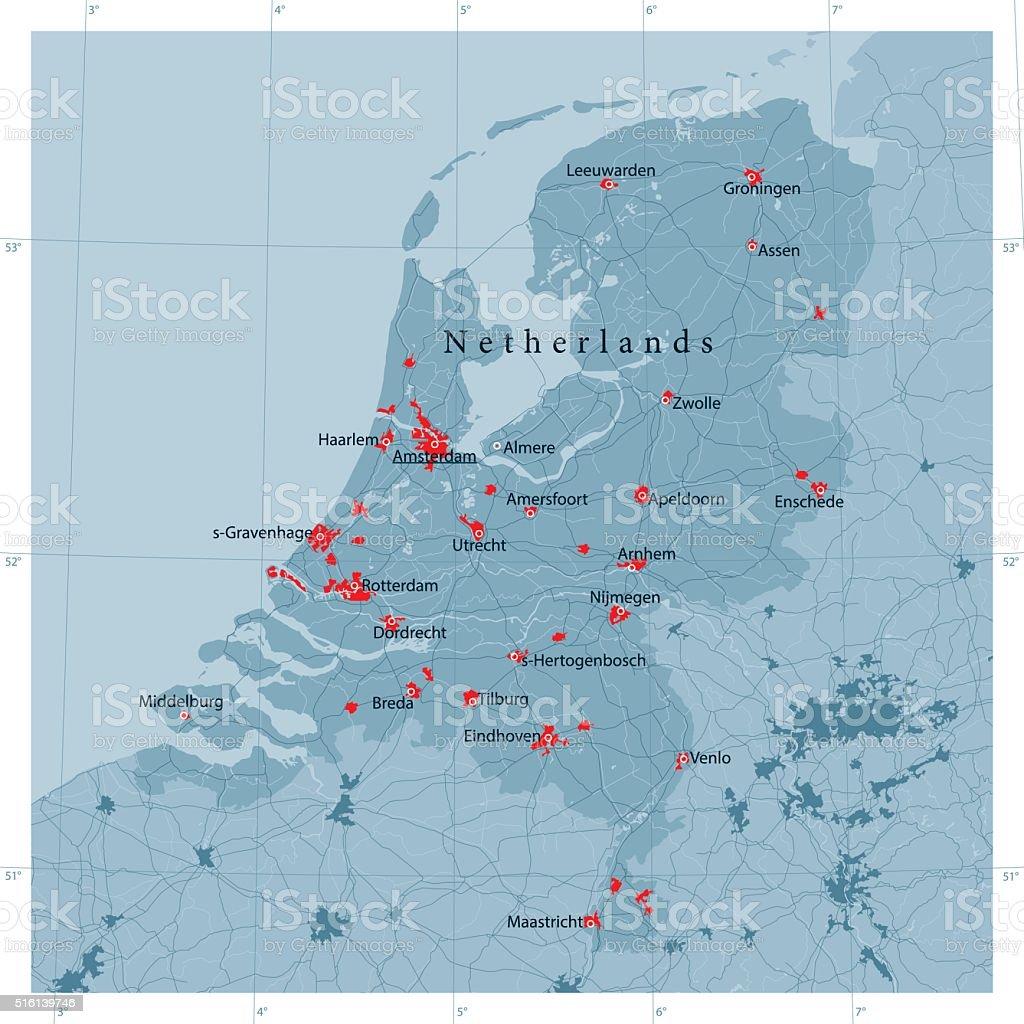 Netherlands Vector Road Map vector art illustration