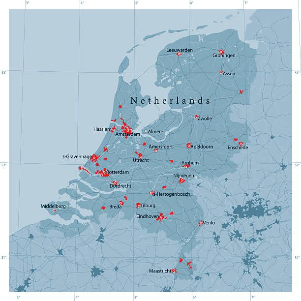 stockillustraties, clipart, cartoons en iconen met netherlands vector road map - den haag