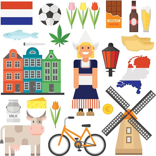 netherlands vector set - dutch traditional clothing stock illustrations, clip art, cartoons, & icons