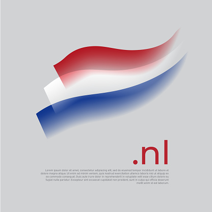 Netherlands watercolor flag. Holland flag colors stripes on white background. Vector stylized national poster design with nl domain, place for text. Tricolor. State dutch patriotic banner, cover