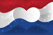 Netherlands with love. National flag with heart shaped waves. Background in colors of flag of netherlands. Heart shape, vector illustration