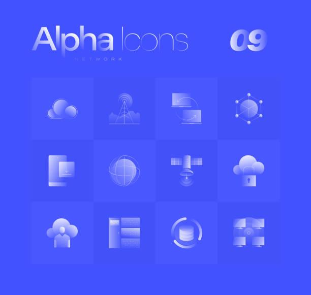 Network Alpha Icons Set vector art illustration