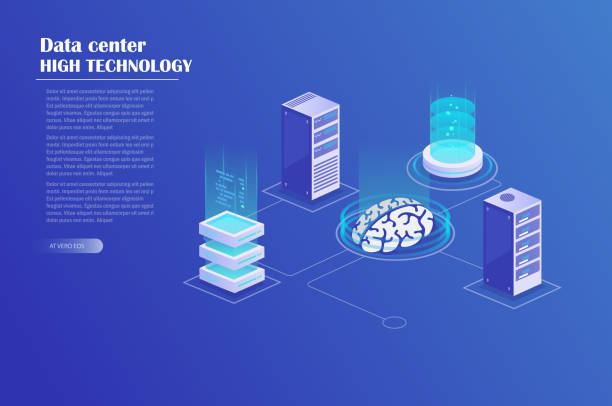 network and big data processing - computer server room stock illustrations