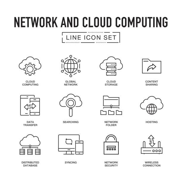 Network and Cloud Computing Line Icon Set vector art illustration