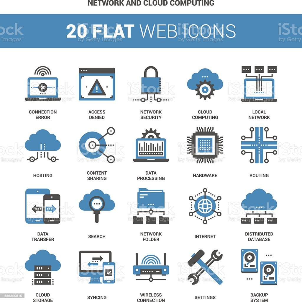 Network and Cloud Computing vector art illustration
