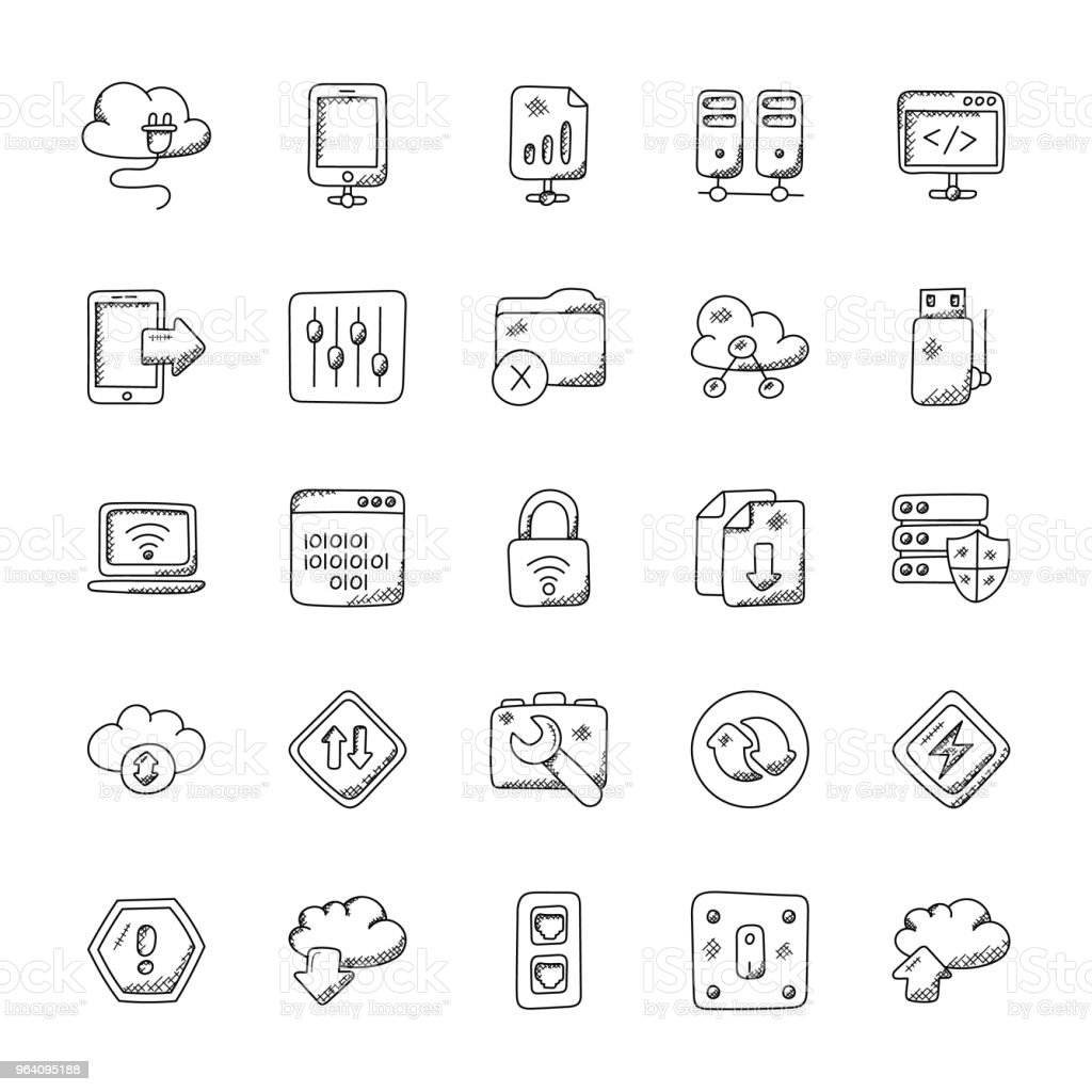 Network and Communication Doodle Icons Set - Royalty-free Binary Code stock vector