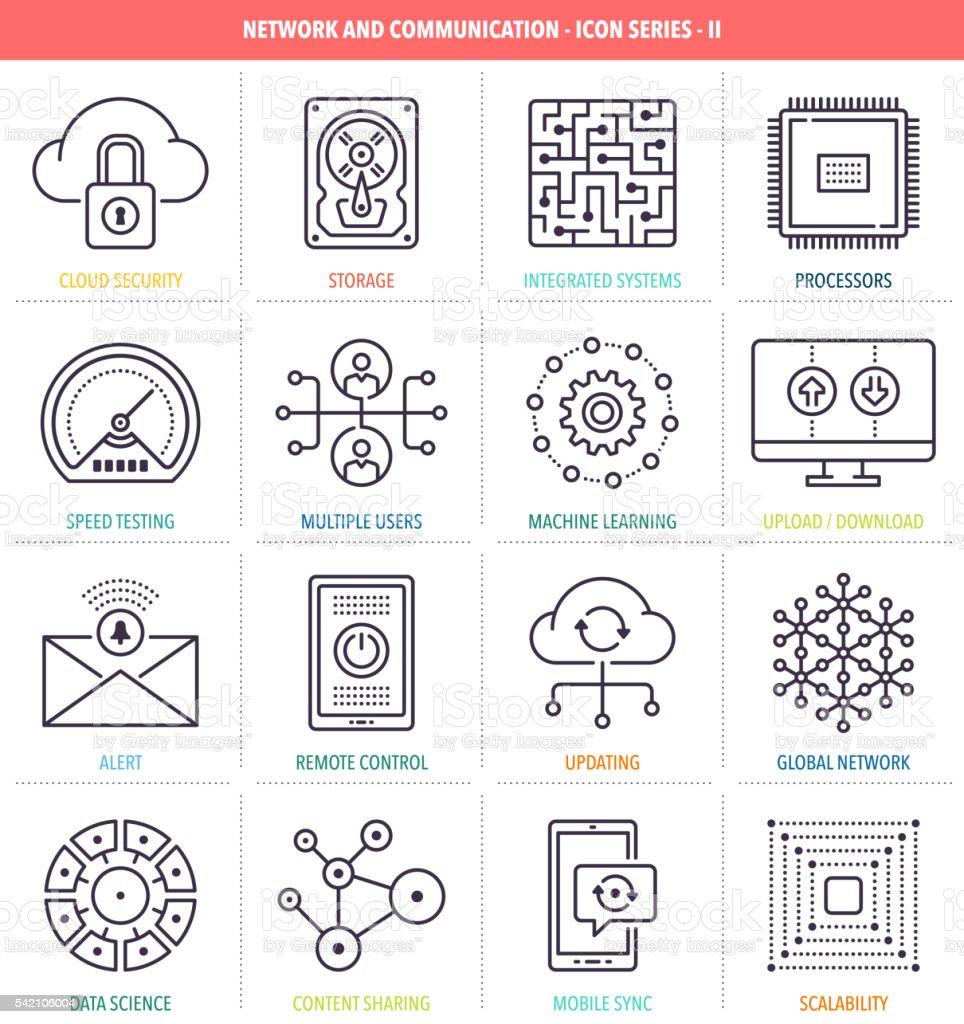 Network and Communication Icon Set vector art illustration