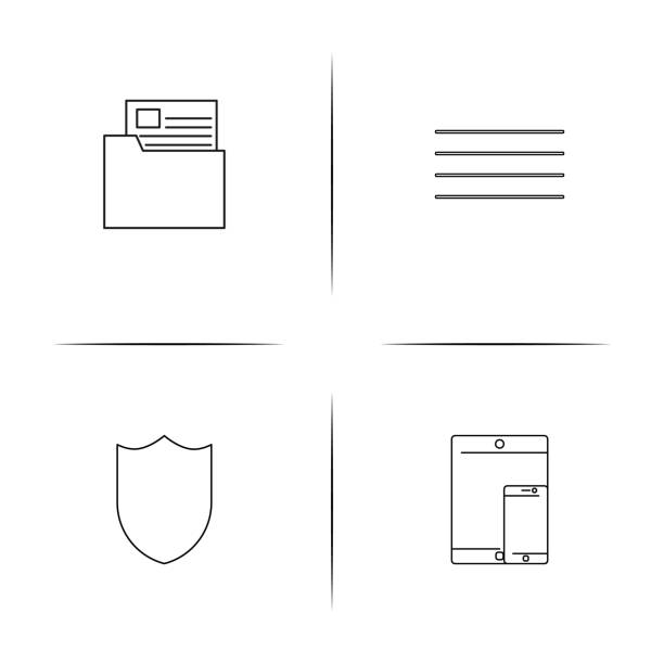 Network And Database simple linear icons set. Outlined vector icons vector art illustration