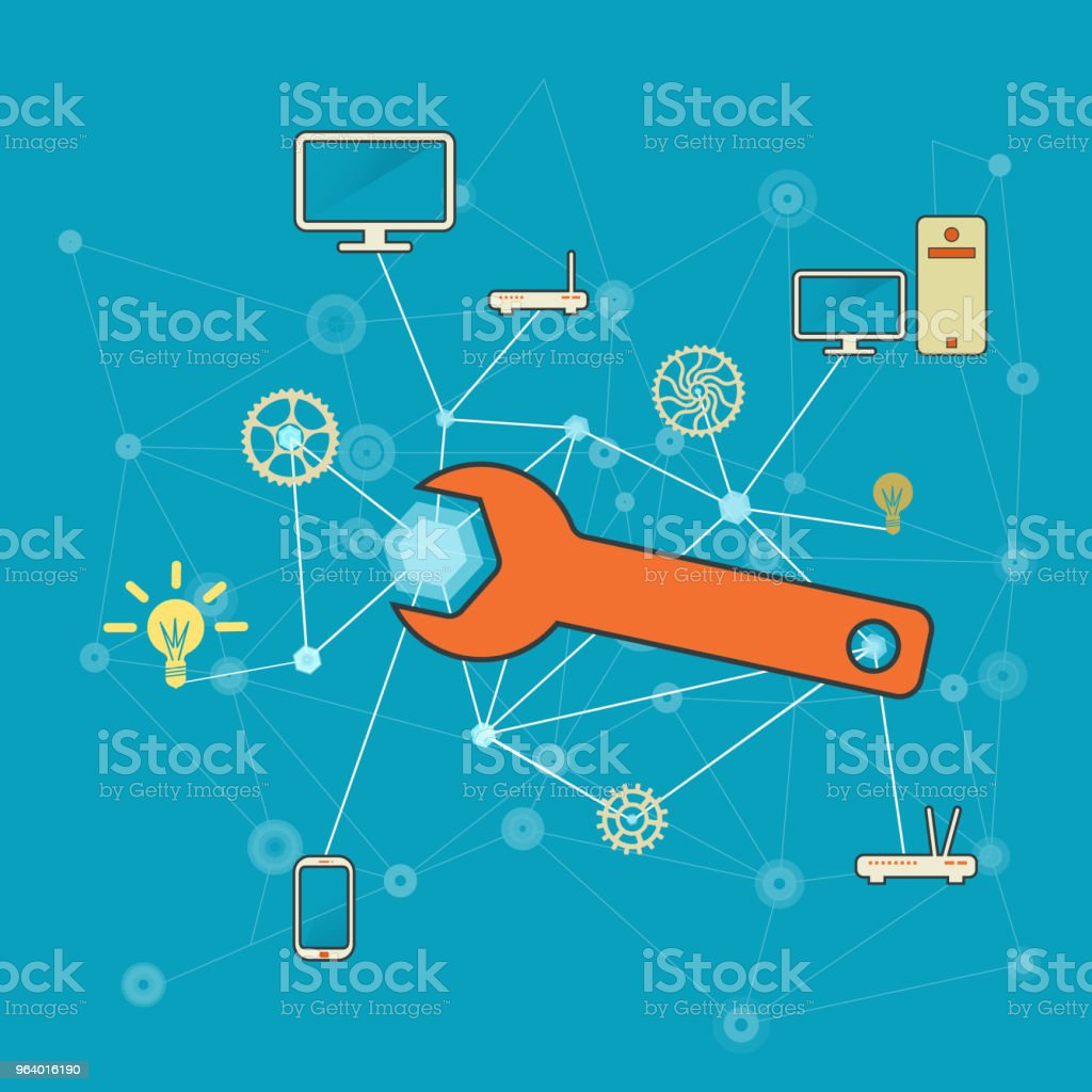 Network and IT services and repairs illustration - Royalty-free Assistance stock vector