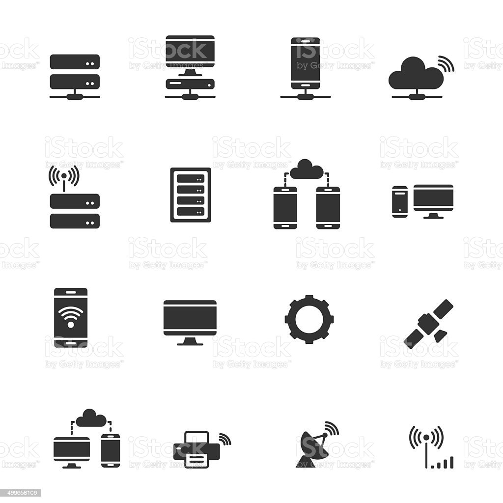 Network Und Mobile Gerätesymbol Netzwerk Verbindungiconset Stock ...