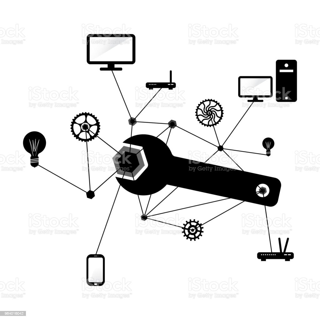 Network and PC repairs conceptual illustration in black and white - Royalty-free Assistance stock vector