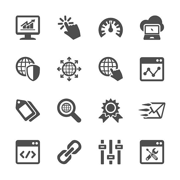 stockillustraties, clipart, cartoons en iconen met network and search engine optimization icon set, vector eps10 - orthografisch symbool