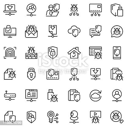 Network and security icon set
