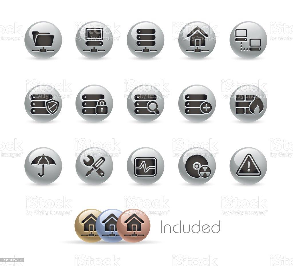 ネットワークとサーバーのアイコンを設定//シリーズ ラウンド メタル ベクターアートイラスト