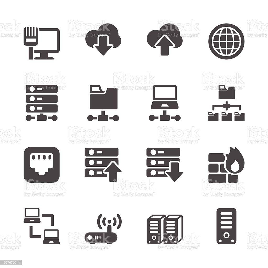 network and server icon set, vector eps10 vector art illustration