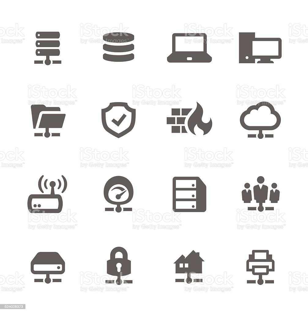 Network and Servers Icons vector art illustration