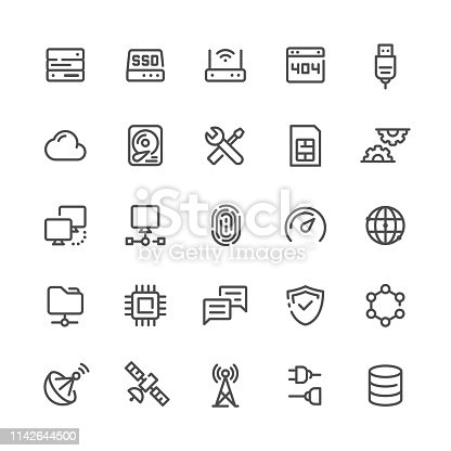 Network and Technology icons set.