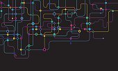 Digital background with colorful network dots and lines on black