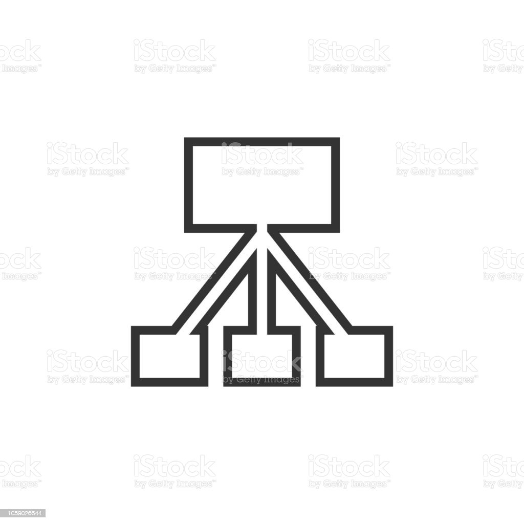 network block diagram  white outline simple pictogram on blue background   line icon royalty-