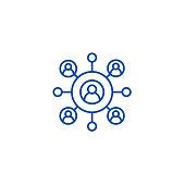 Network business line concept icon. Network business flat  vector website sign, outline symbol, illustration.