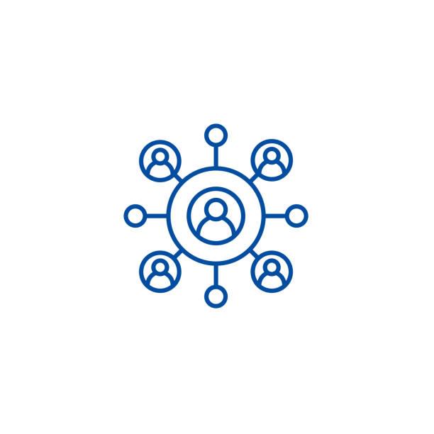 네트워크 비즈니스 라인 아이콘 개념입니다. 네트워크 비즈니스 평면 벡터 기호, 기호, 개요 그림. - 수다 stock illustrations
