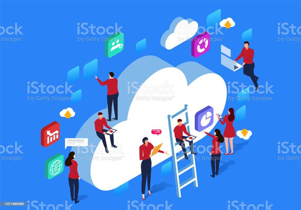Network cloud communication vector art illustration