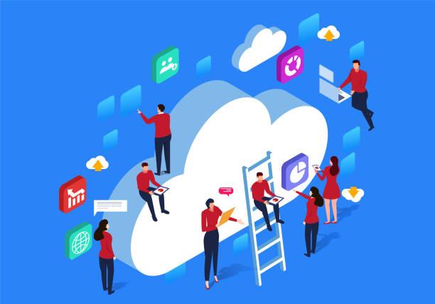 ilustraciones, imágenes clip art, dibujos animados e iconos de stock de comunicación de red cloud - informática en la nube