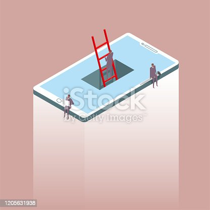istock Network communication concept, a businessman crossing a cell phone using a ladder, two businessmen sitting on the edge of a cell phone. One is reading. The background is brown. 1205631938