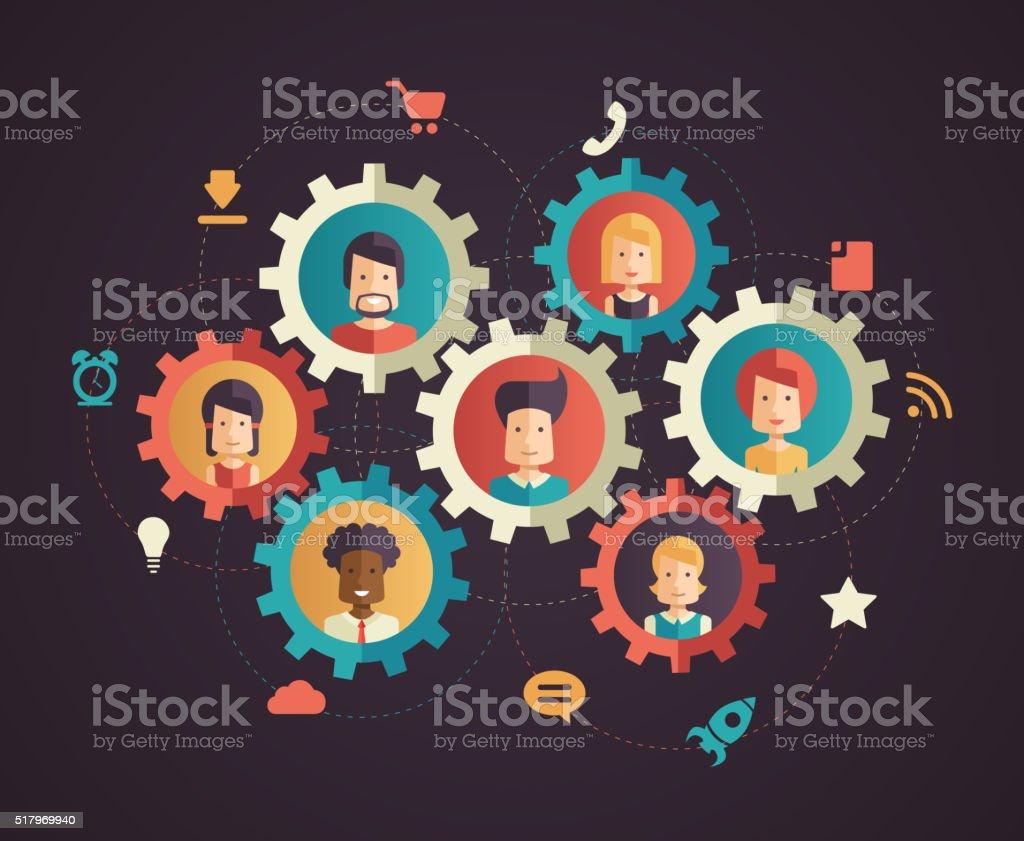 Network communication - modern flat design business infographics illustration vector art illustration
