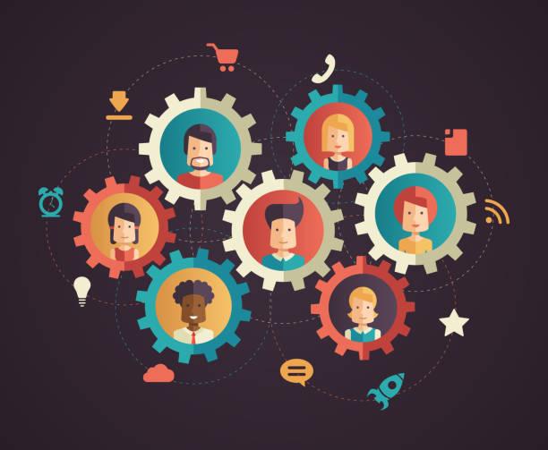 Le réseau de communication moderne de conception plat illustration infographie - Illustration vectorielle