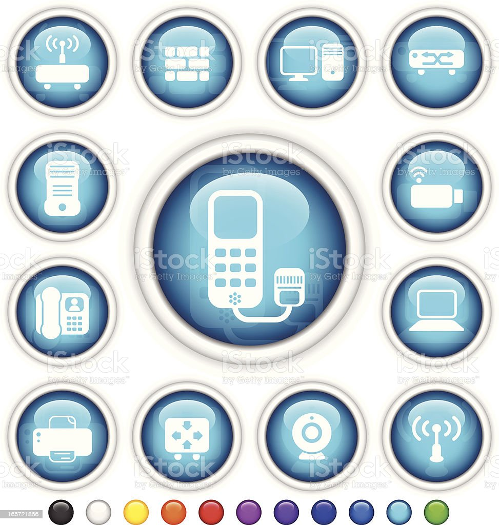 Network Components   Plastic Gloss Buttons royalty-free stock vector art