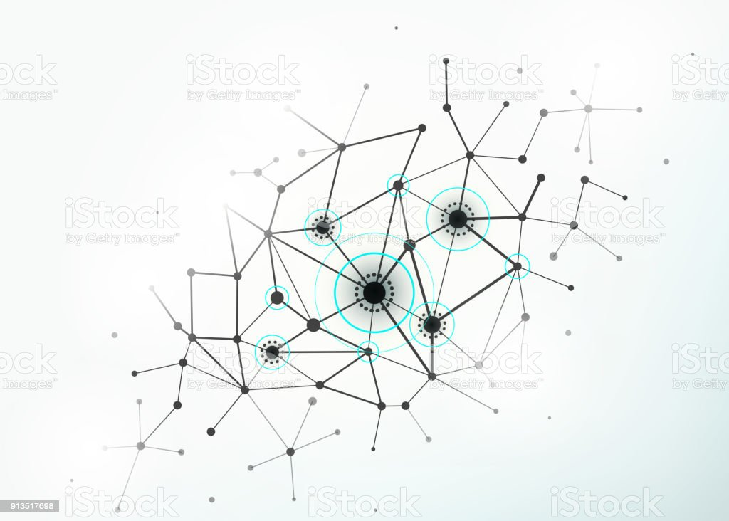 Network concept connections with lines, circles and dots vector art illustration