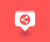 Network conection icon, vector symbol in flat style isolated on red background. Social media illustration.