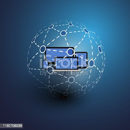 Access from Multiple Devices, Worldwide Connections - Dark Blue Digital, Global, Social Networks and Communication Concept Creative Design with Globular Mesh with Mobile Devices Inside in the Center - Illustration in Freely Scalable and Editable Vector Format