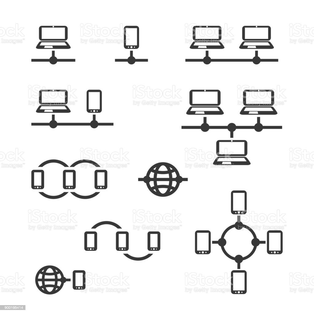 Network Connections, Internet, Mobile Networking - Icon Set vector art illustration