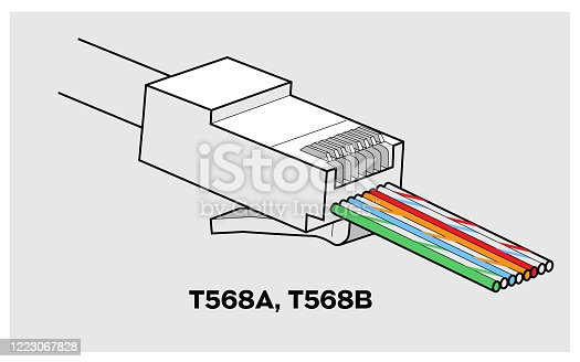 istock RJ45 Network Connector T568A/T568B Closeup view 1223067828